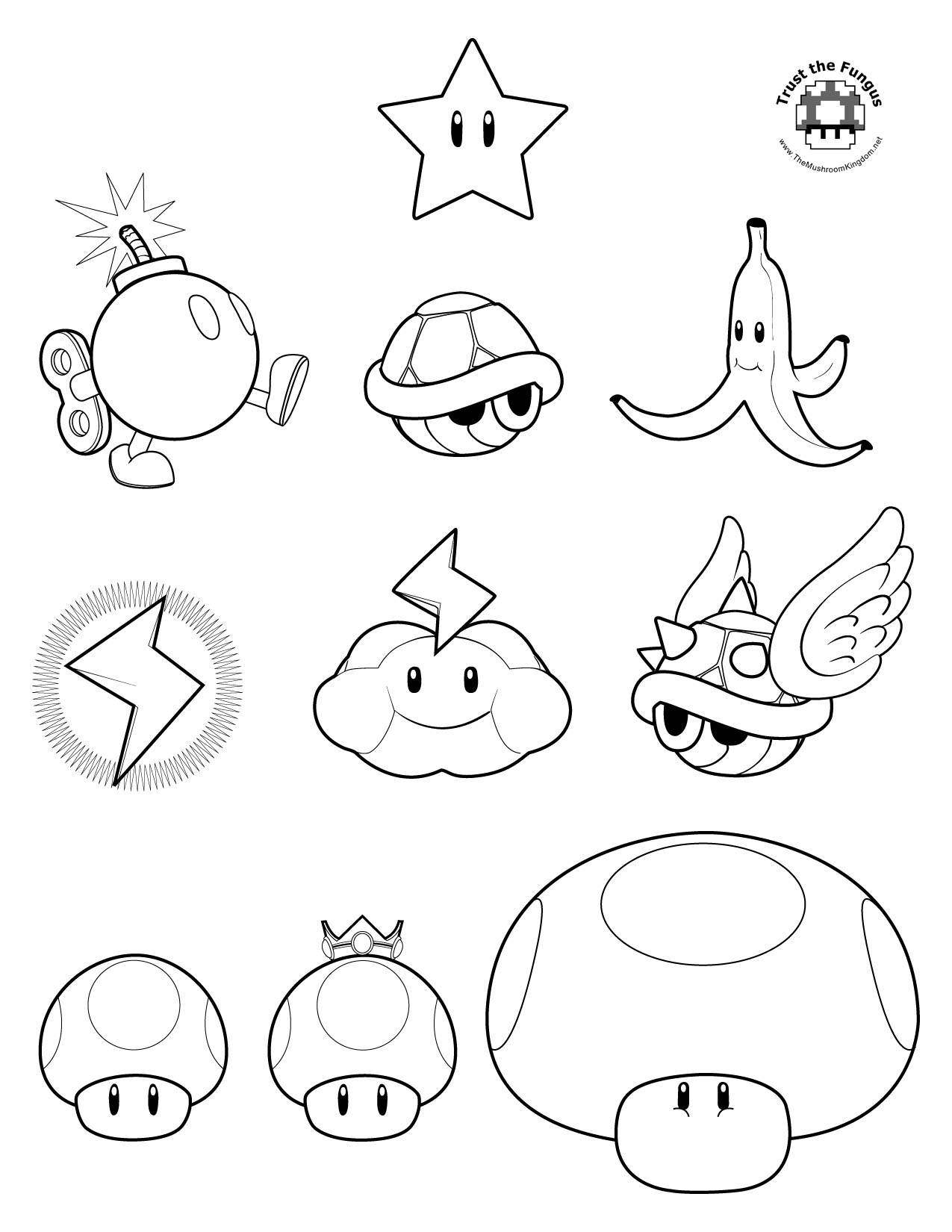 Mario Mushroom Coloring Pages Images amp Pictures Becuo