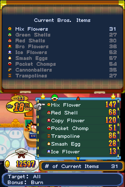 Bottom screen: Bros. Items grouped by appearance