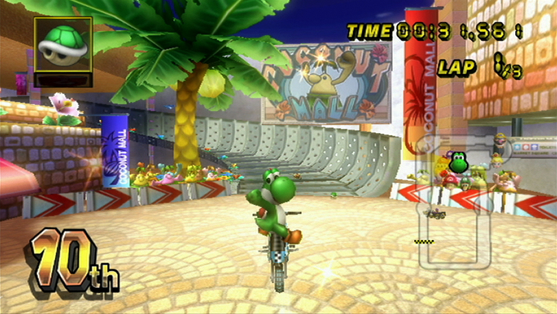 pictures of yoshi from mario kart. Yoshi shows off on a bike